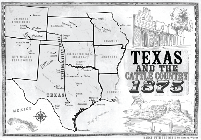 Map Of Texas Victoria.Map Of Texas And The Cattle Country 1875